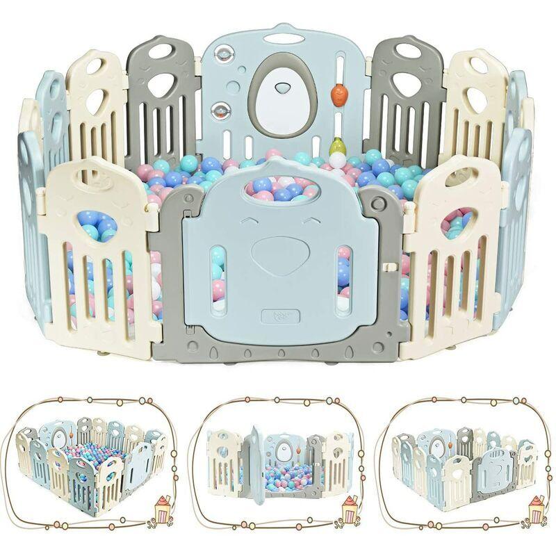 GOPLUS Parc de Bébé 14 Pièces 64x41x3,5CM avec Grande Porte Bébé Barrière Securité Protection pour Enfants - Goplus