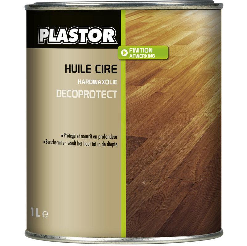 PLASTOR Huile cire parquet Décoprotect 1L : assure une protection durable des bois intérieurs, protège efficacement des taches - Chêne clair - Plastor