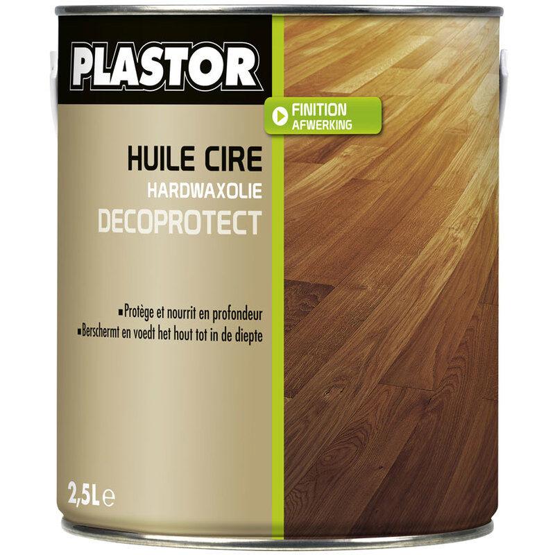 PLASTOR Huile cire parquet Décoprotect 2.5L : assure une protection durable des bois intérieurs, protège efficacement des taches - Chêne clair - Plastor