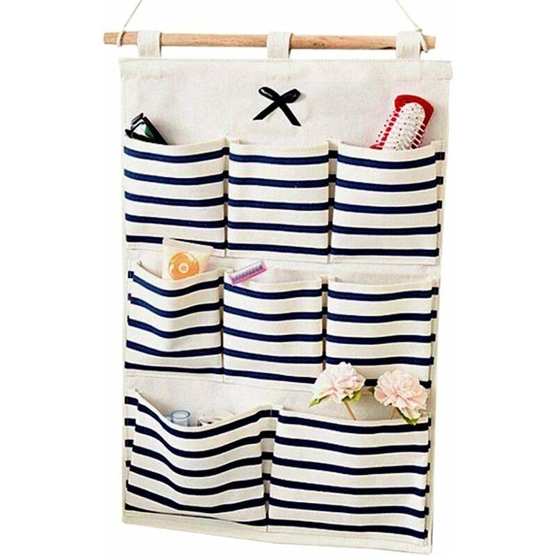 LangRay Sac de rangement imperméable à l'eau Sac de rangement pliable en tissu de lin Tenture murale Bande de porte Organisateur suspendu Sac à