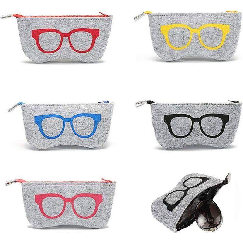 LangRay Sac à lunettes Tissu Feutre Lunettes à fermeture éclair Sac à lunettes de soleil Étui à lunettes Étui à lunettes portable Étuis à lunettes de