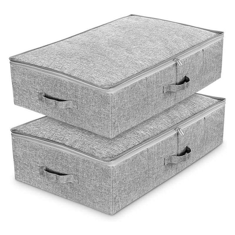 BRIDAY Lot de 2 Sac de Rangement sous lit en tissu cationique respirant,Boîtes pliables de Rangement avec couvercle et poignée pour les