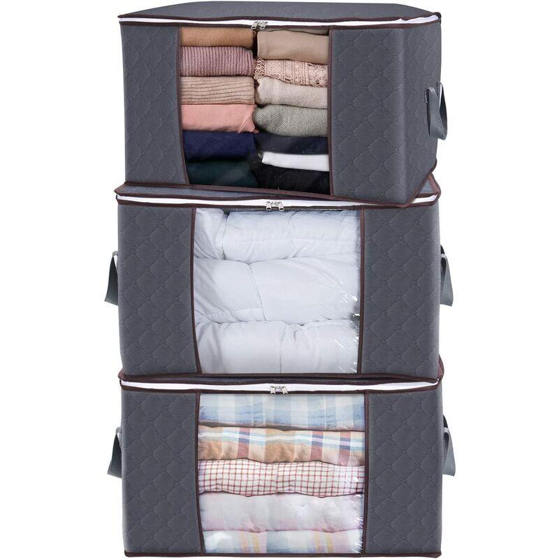 BRIDAY Organisateur de sac de rangement pour vêtements de grande capacité avec poignée renforcée Tissu épais pour couettes, couvertures, literie, pliable