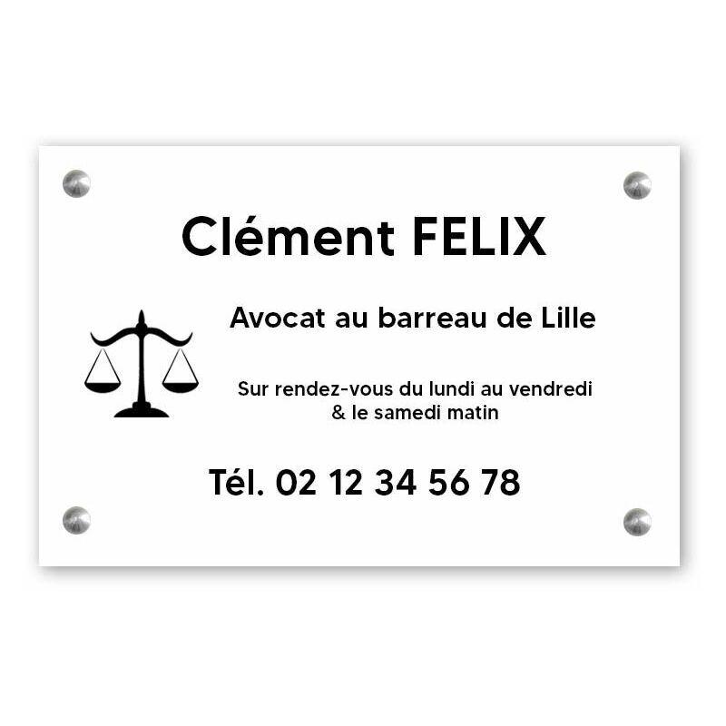 DECOHO Plaque professionnelle personnalisée avec logo pour avocat, société d'avocats - Plaque PVC - Format 30 cm x 20 cm - Blanche lettres noires - 20 cm