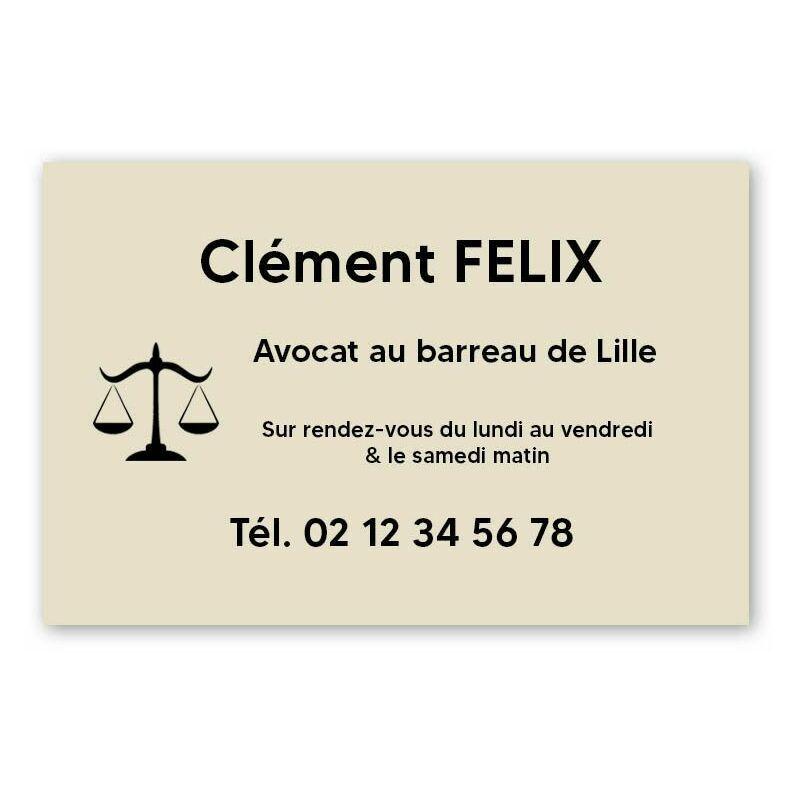 DECOHO Plaque professionnelle personnalisée avec logo pour avocat, société d'avocats - Plaque PVC - Format 30 cm x 20 cm - Beige lettres noires - 20 cm