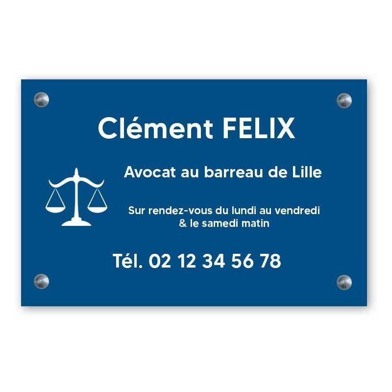 DECOHO Plaque professionnelle personnalisée avec logo pour avocat, société d'avocats - Plaque PVC - Format 30 cm x 20 cm - Bleue lettres blanches - 20 cm