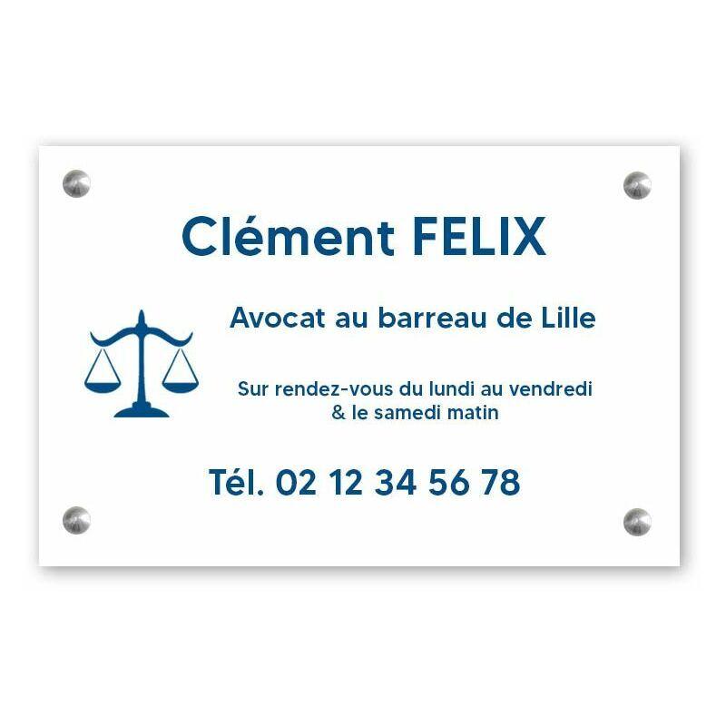 DECOHO Plaque professionnelle personnalisée avec logo pour avocat, société d'avocats - Plaque PVC - Format 30 cm x 20 cm - Blanche lettres bleues - 20 cm