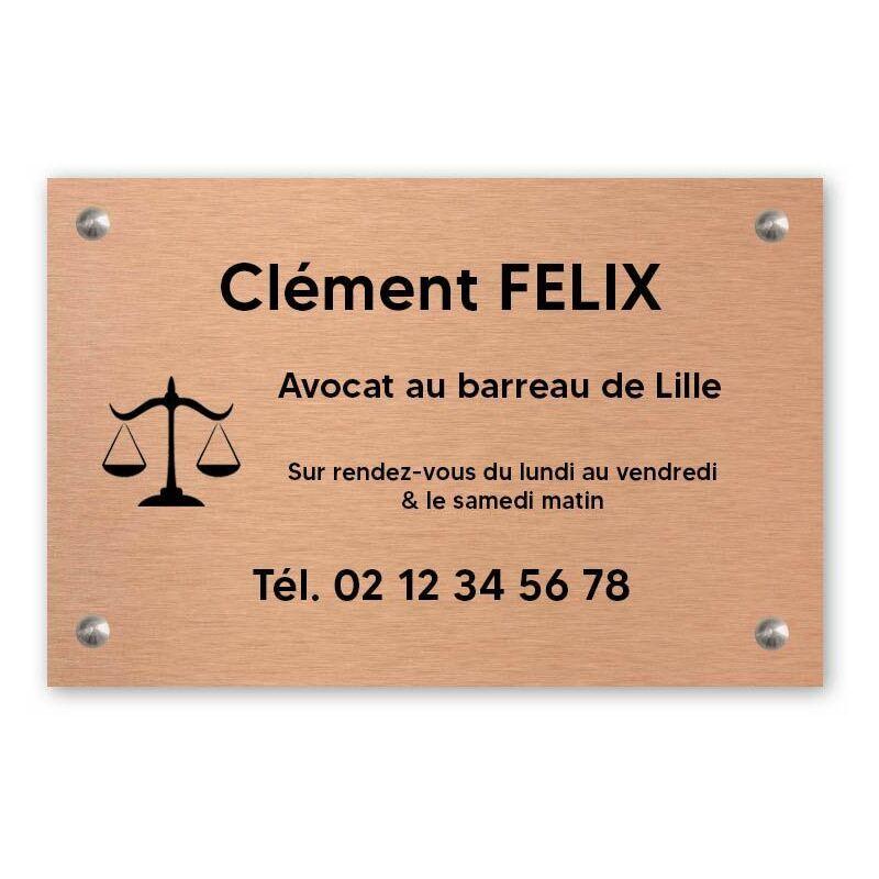 DECOHO Plaque professionnelle personnalisée avec logo pour avocat, société d'avocats - Plaque PVC - Format 30 cm x 20 cm - Cuivre lettres noires - 20 cm