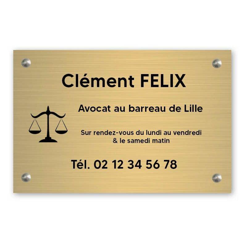 DECOHO Plaque professionnelle personnalisée avec logo pour avocat, société d'avocats - Plaque PVC - Format 30 cm x 20 cm - Or lettres noires - 20 cm - Or