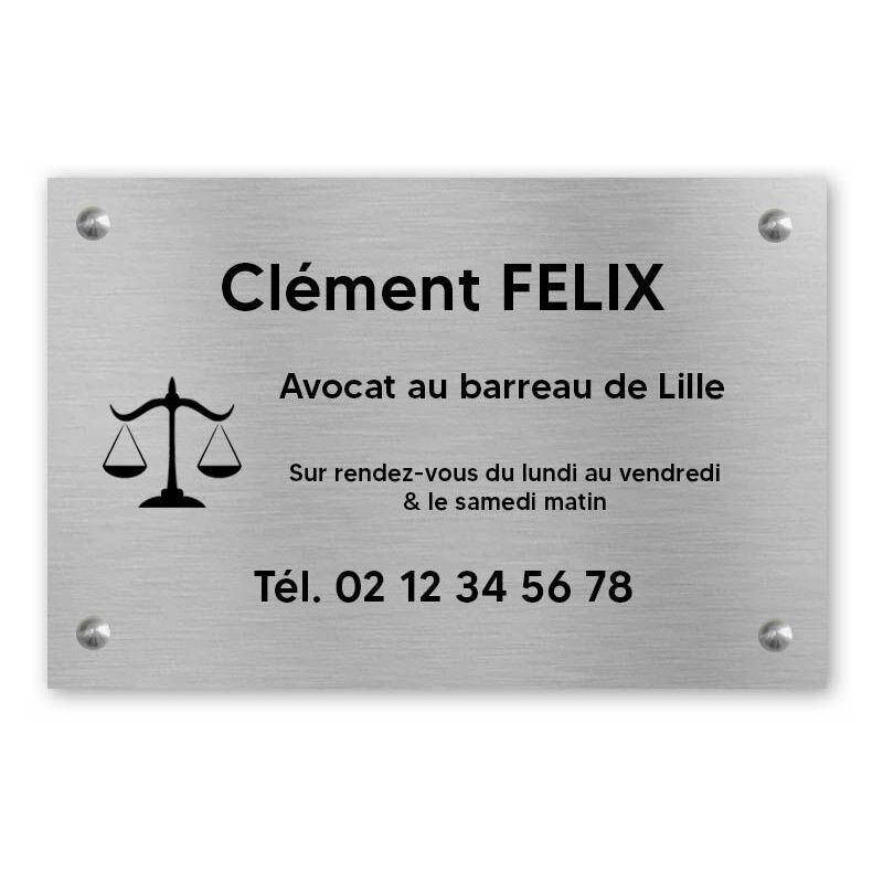 DECOHO Plaque professionnelle personnalisée avec logo pour avocat, société d'avocats - Plaque PVC - Format 30 cm x 20 cm - Argent lettres noires - 20 cm