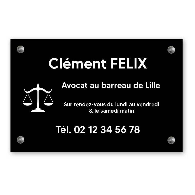 DECOHO Plaque professionnelle personnalisée avec logo pour avocat, société d'avocats - Plaque PVC - Format 30 cm x 20 cm - Noire lettres blanches - 20 cm