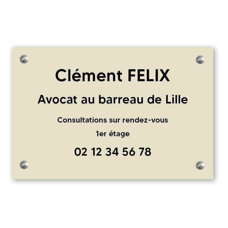 DECOHO Plaque professionnelle personnalisée en PVC pour avocat, société d'avocats - 1 à 5 lignes de texte - Format 30 x 20 cm - Beige lettres noires - 20 cm