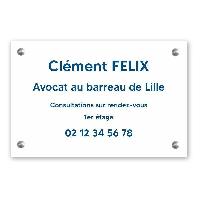 DECOHO Plaque professionnelle personnalisée en PVC pour avocat, société d'avocats - 1 à 5 lignes de texte - Format 30 x 20 cm - Blanche lettres bleues - 20