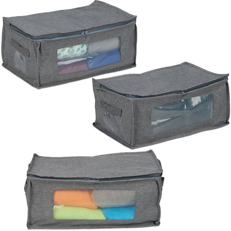 RELAXDAYS Sac de rangement, jeu de 3, pliable, avec fermeture éclair, dessous de lit, en tissu, 20x45x30 cm, gris