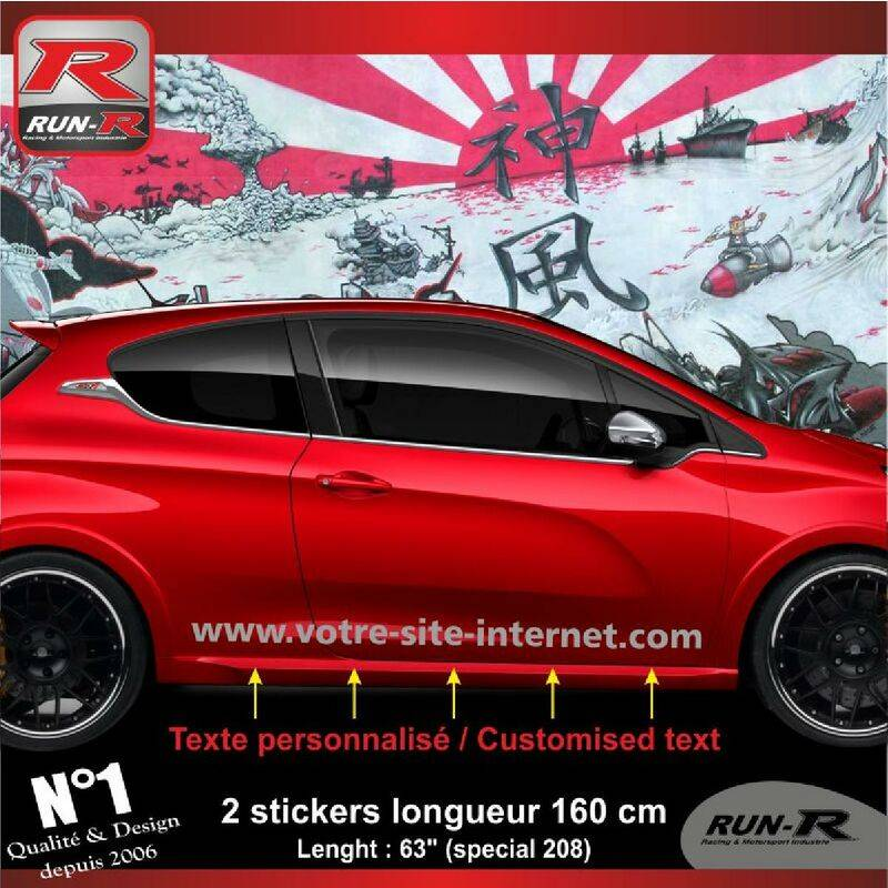 RUN-R STICKERS Sticker personnalise compatible avec bas de caisse 00BWA PEUGEOT 208 - Argent