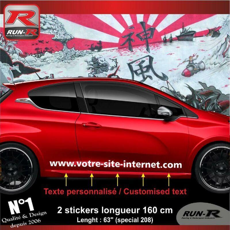 RUN-R STICKERS Sticker personnalise compatible avec bas de caisse 00BWB PEUGEOT 208 - Blanc
