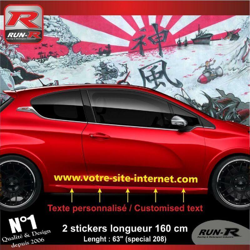 RUN-R STICKERS Sticker personnalise compatible avec bas de caisse 00BWJ PEUGEOT 208 - Jaune