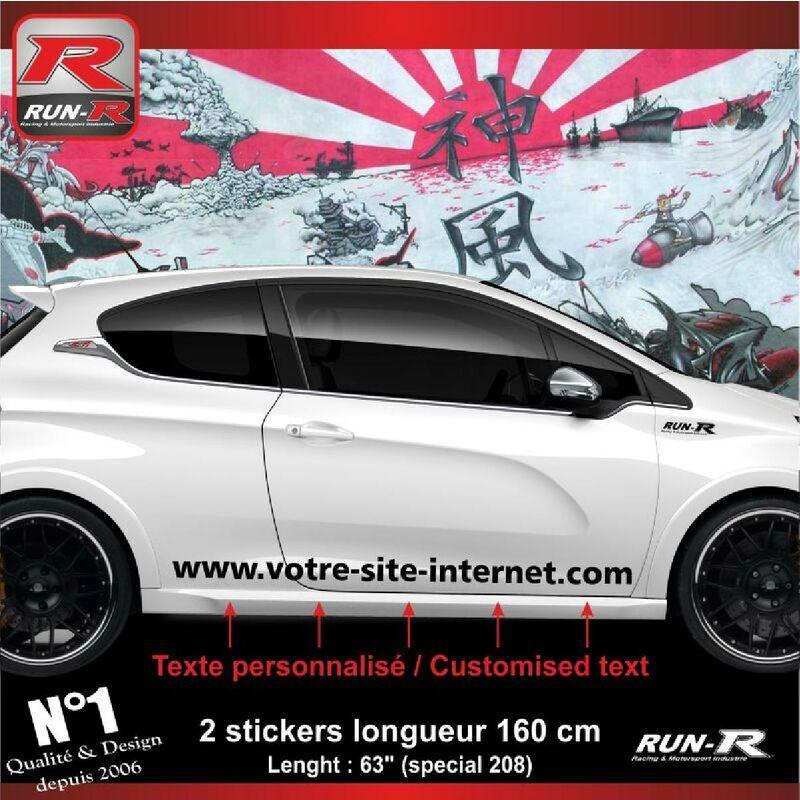 RUN-R STICKERS Sticker personnalise compatible avec bas de caisse 00BWN PEUGEOT 208 - Noir