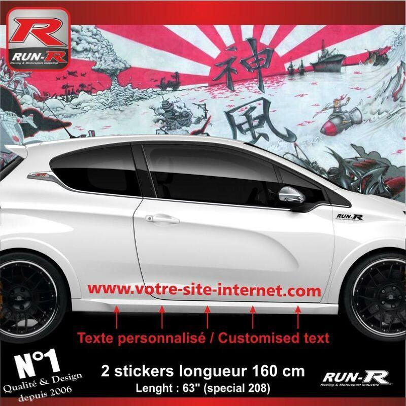 RUN-R STICKERS Sticker personnalise compatible avec bas de caisse 00BWR PEUGEOT 208 - Rouge