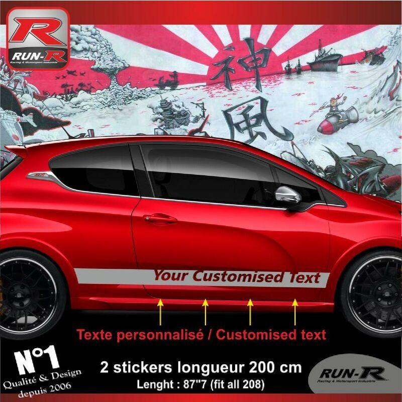 Run-r Stickers - Sticker personnalise compatible avec bas de caisse 00BXA PEUGEOT 208 - Argent