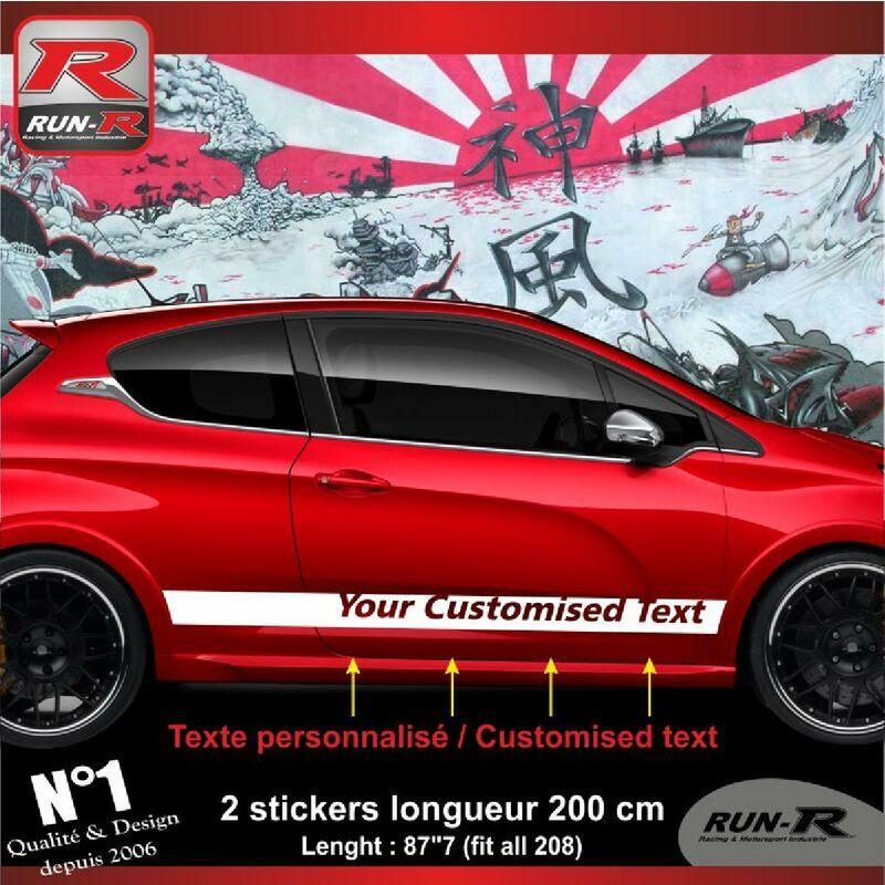 Run-r Stickers - Sticker personnalise compatible avec bas de caisse 00BXB PEUGEOT 208 - Blanc