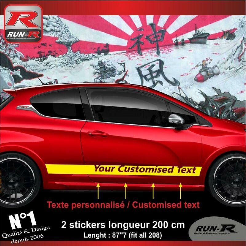 Run-r Stickers - Sticker personnalise compatible avec bas de caisse 00BXJ PEUGEOT 208 - Jaune