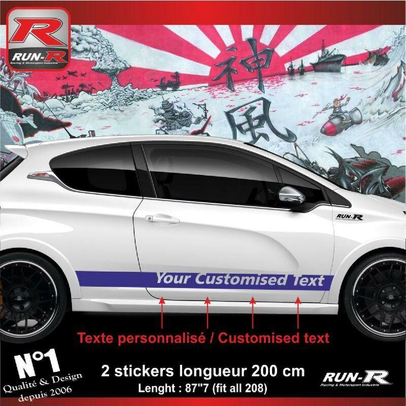 RUN-R STICKERS Sticker personnalise compatible avec bas de caisse 00BXM PEUGEOT 208 - Marine