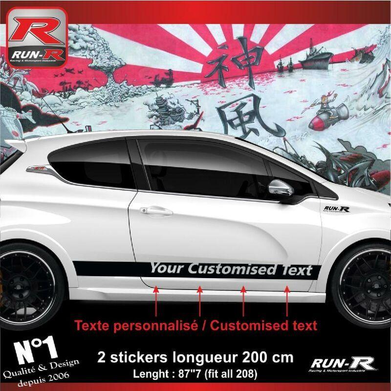 Run-r Stickers - Sticker personnalise compatible avec bas de caisse 00BXN PEUGEOT 208 - Noir