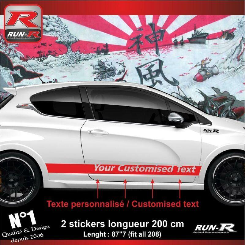 Run-r Stickers - Sticker personnalise compatible avec bas de caisse 00BXR PEUGEOT 208 - Rouge