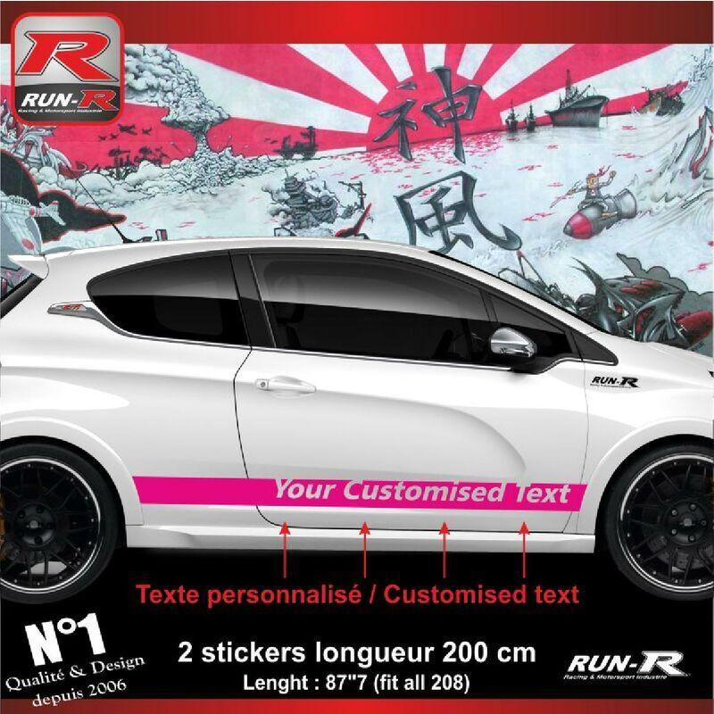 Run-r Stickers - Sticker personnalise compatible avec bas de caisse 00BXZ PEUGEOT 208 - Rose
