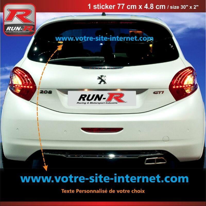 RUN-R STICKERS Sticker personnalise compatible avec vitre arriere de PEUGEOT 208 207 206 - Couleur Bleu