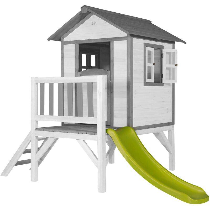 AXI Maison Enfant Beach Lodge XL en Blanc avec toboggan en vert clair   Maison de Jeux en bois FFC pour les enfants   Maisonnette / Cabane de jeu