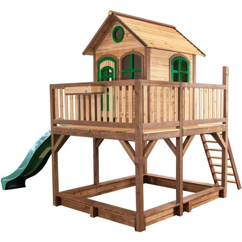 AXI Liam Maison Enfant avec Bac à Sable & Toboggan vert   Aire de Jeux pour l'extérieur en marron & vert   Maisonnette / Cabane de Jeu en Bois FSC - AXI