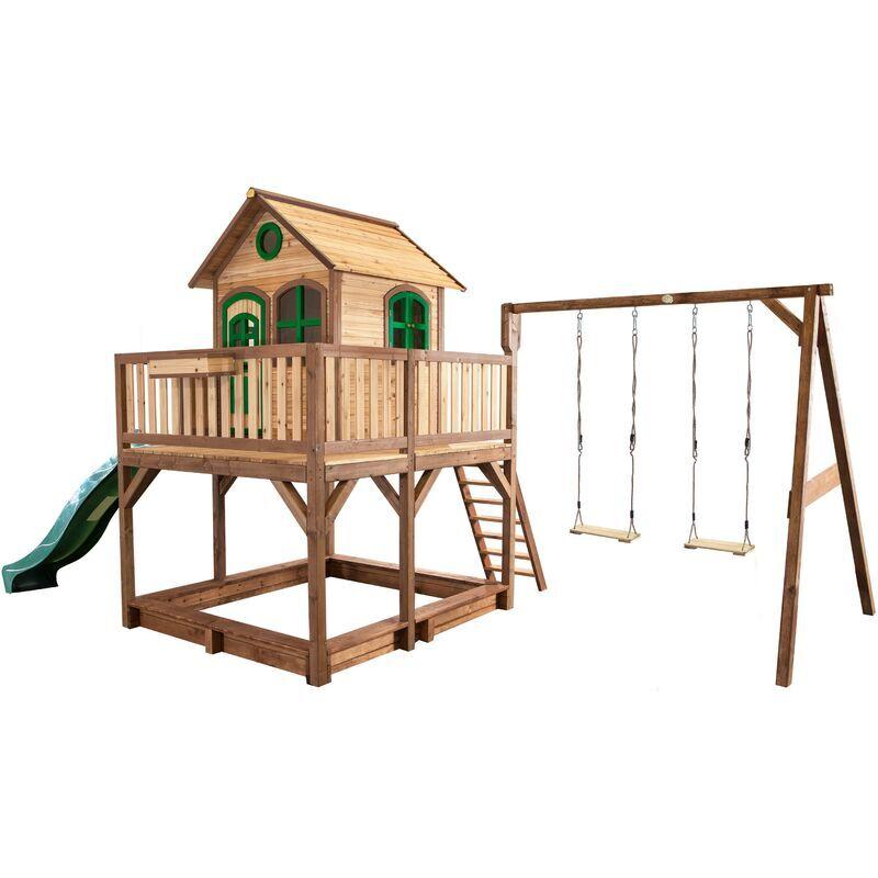 AXI Liam Maison Enfant avec Bac à Sable, Balançoire 2 Agrès & Toboggan vert   Aire de Jeux pour l'extérieur en marron & vert   Maisonnette / Cabane