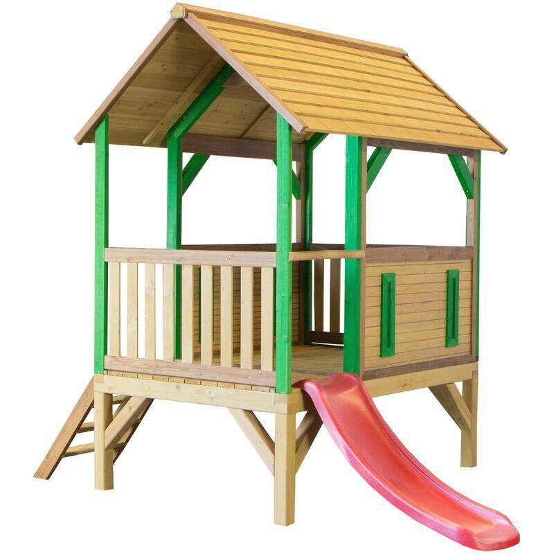 AXI Akela Maison Enfant avec Toboggan rouge   Aire de Jeux pour l'extérieur en marron & vert   Maisonnette / Cabane de Jeu en Bois FSC - AXI
