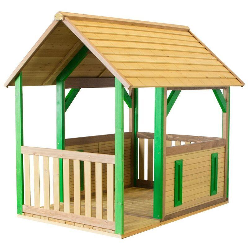 AXI Forest Maison Enfant en Bois FSC   Maison de Jeux pour l'extérieur / Jardin en marron & vert   Maisonnette / Cabane de Jeu avec Véranda