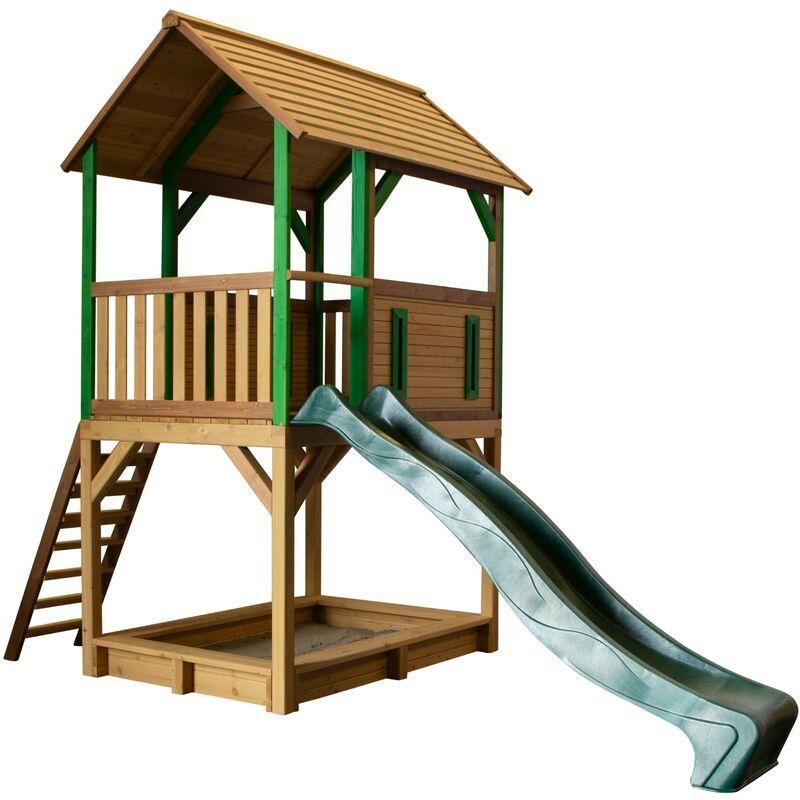 AXI Pumba Maison Enfant avec Bac à Sable & Toboggan vert   Aire de Jeux pour l'extérieur en marron & vert   Maisonnette / Cabane de Jeu en Bois FSC