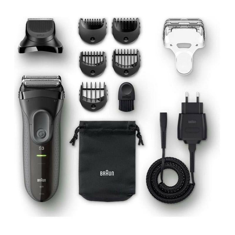 Braun SERIES 3 SHAVE&STYLE 3000BT Rasoir électrique avec tondeuse a barbe - Noir - Braun