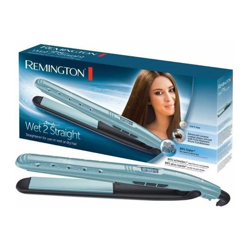 Remington S7300 Fer a Lisser Lisseur Wet2Straight Plaques Flottantes Advanced Ceramic Soin Anti-Frizz, sur Cheveux Mouillés ou Secs