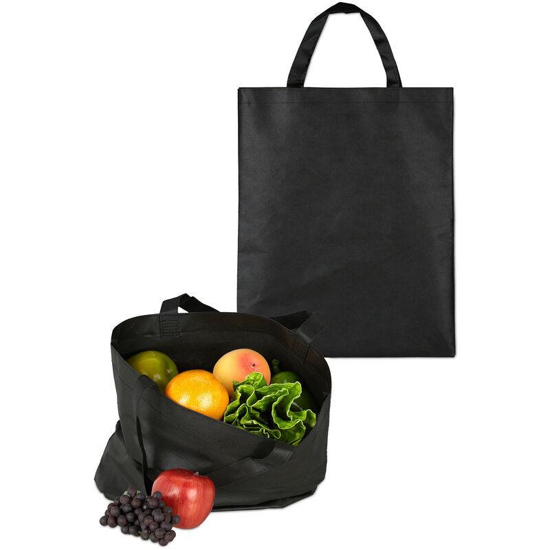 RELAXDAYS Set de 10 sacs en tissu, non imprimés, pour courses, courte anse, sac course, H x L 49,5 x 40 cm, noir