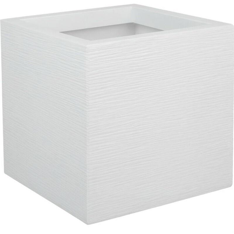 EDA PLASTIQUE Bac a fleurs carré Graphit Up - 21 L - 29,5 x 29,5 x 29,5 cm - Blanc cérusié - Eda Plastique