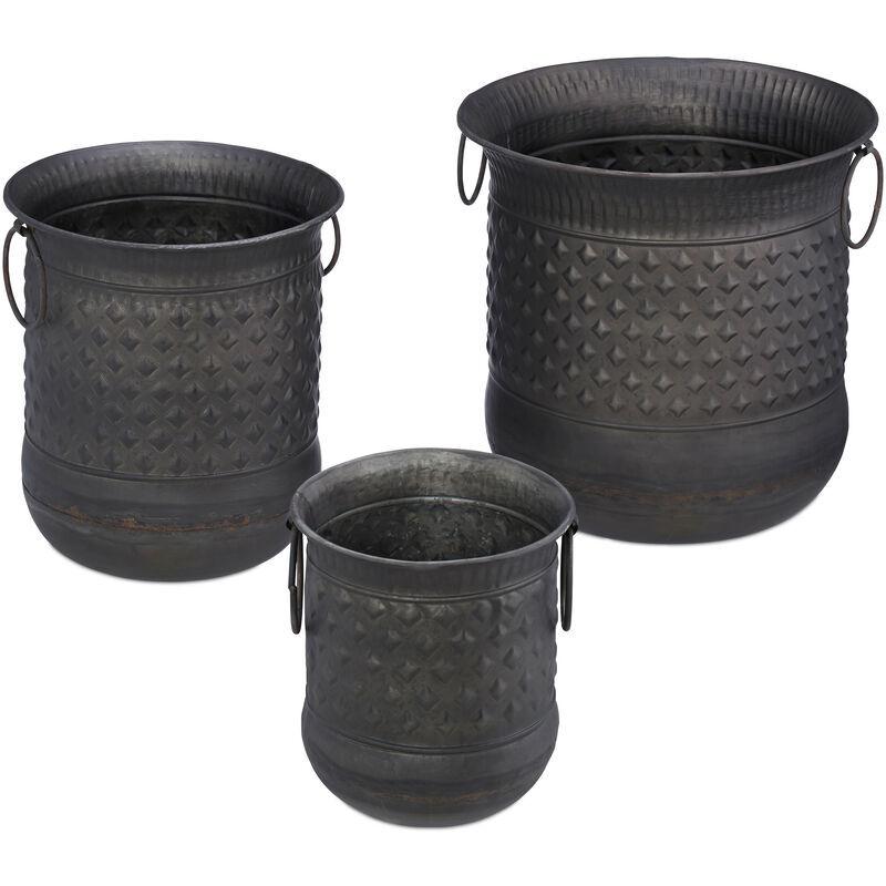 RELAXDAYS Pot de fleurs set de 3 antiquités bac à fleurs jardinière avec anse vintage en fer, anthracite