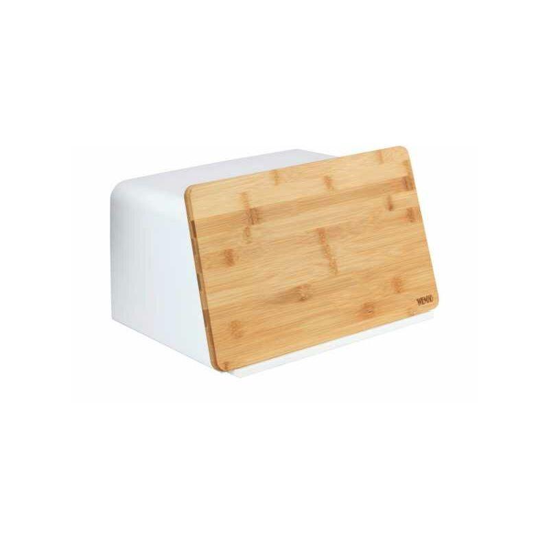 Wenko Boite à pain avec couvercle bois, planche à découper, Kubo, Blanc