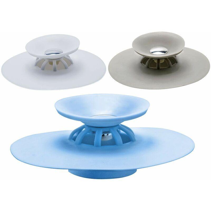 LONGZIMING Bouchon de vidange de douche multifonctionnel et dispositif d'extension de cheveux 3 couleurs, protecteur de filtre en silicone et couvercle de tuyau