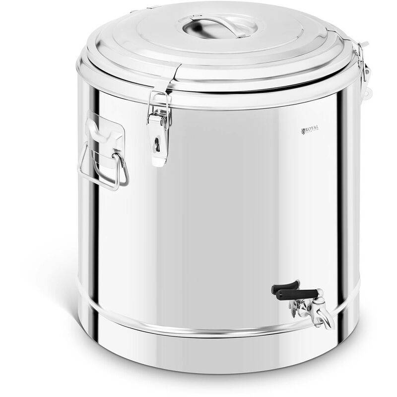 ROYAL CATERING Conter Isotherme Thermobox Isolation Thermique Acier Inox Robinet 50 Litres