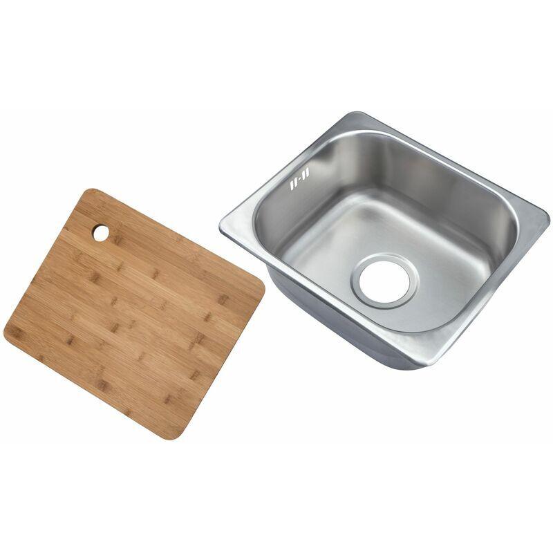 Complement - Petit évier de cuisine carré encastrable. Evier à un seul bac dans acier brossé + Planche à découper en bambou (A11 bs + cb)