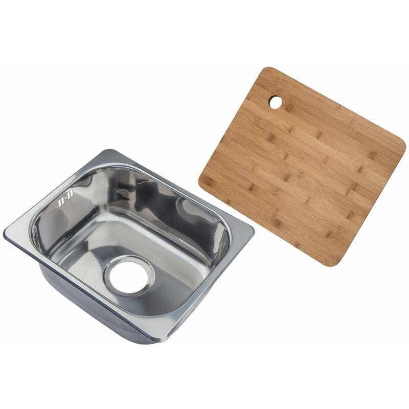 Complement - Petit évier de cuisine carré encastrable - evier à un seul bac dans acier brilliant + Planche à découper en bambou (A11 mr + cb)