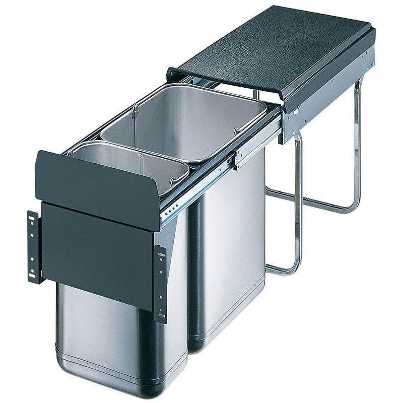 Wesco Poubelle coulissante 2 seaux - Amortisseur : Sans - Contenance : 30 L - Décor : Gris - Hauteur : 385 mm - Largeur : 254 mm - Matériau : Inox / Métal