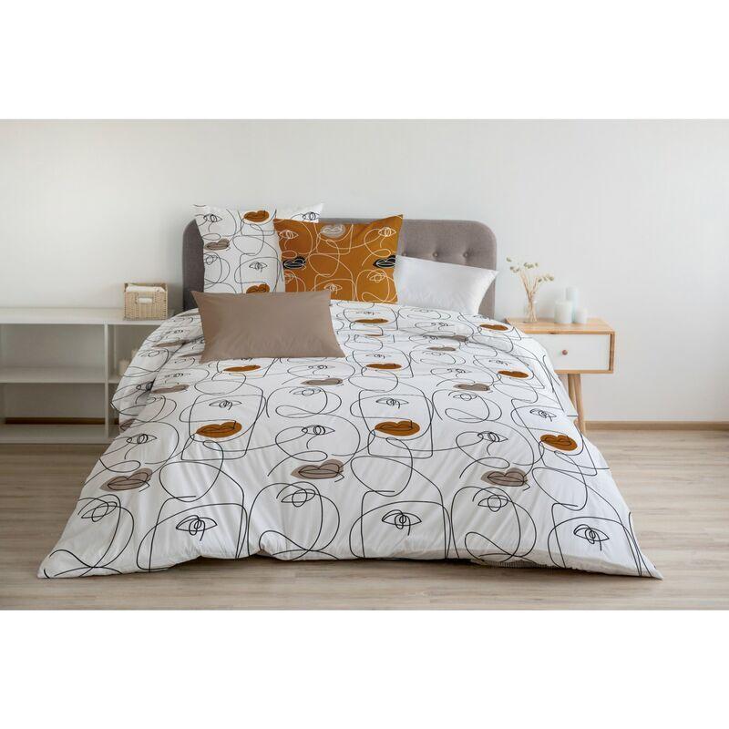Home Linge Passion - NEFERTITI Parure de Couette 100% Coton COULEURS - Caramel, MATIÈRE - 100% COTON, TAILLES - 220 x 240 cm