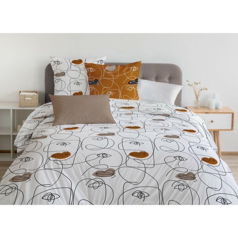 Home Linge Passion - NEFERTITI Parure de Couette 100% Coton COULEURS - Caramel, MATIÈRE - 100% COTON, TAILLES - 240 x 260 cm